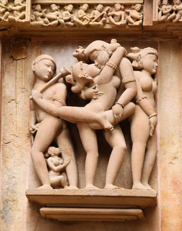 Tantric Sex - famous sculptures of Khajuraho that adorn the walls of temples in India