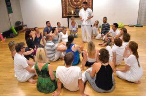 Meditation retreat - student's preparing for a yoga ritual