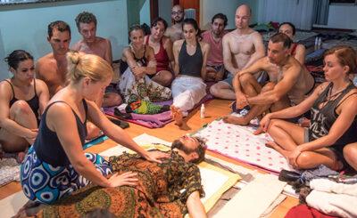 Tantra Liisa providing a Tantra Massage demonstration