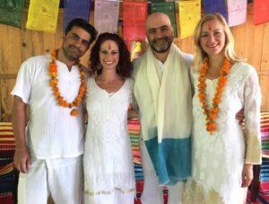 meditation retreat - Tiffany photographed with her teachers at Somananda Tantra School