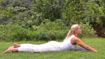 yoga poses - Liisa demonstrating a modified variation of Bhujangasana
